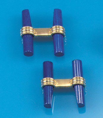 A pair of lapis lazuli cufflin