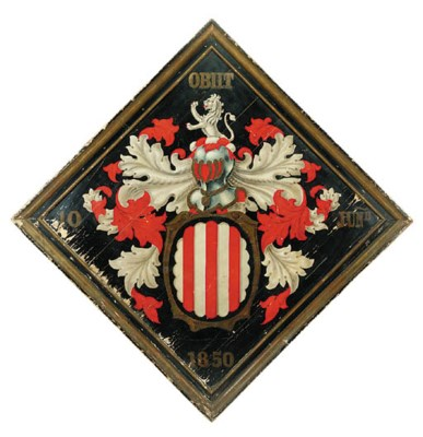 A painted hatchment board, dat