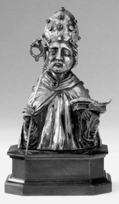 A CONTINENTAL SILVER BUST OF A