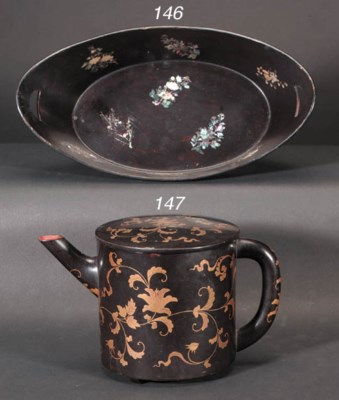 A Japanese lacquer wine pot 19
