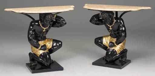 A pair of ebonised and parcel-