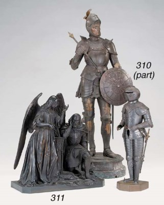 A bronze figural group of knig