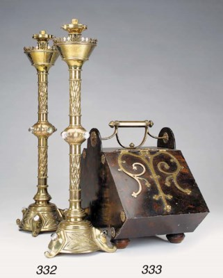 A pair of brass and glass moun