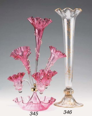 A Venetian moulded rose glass