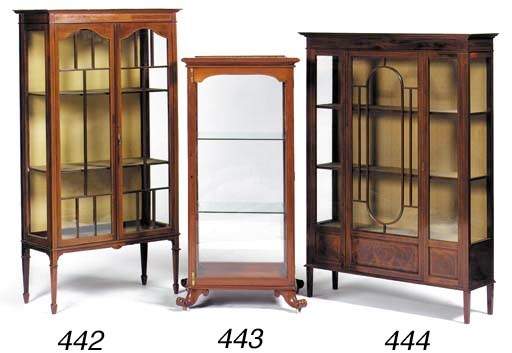 A mahogany rectangular display