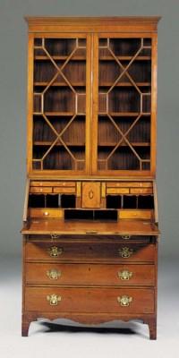A mahogany bureau bookcase, la