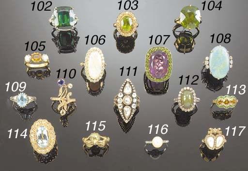 A peridot single stone ring,