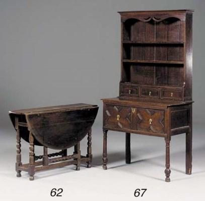 An oak and pine gateleg table,