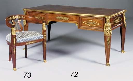 A mahogany and giltmetal mount
