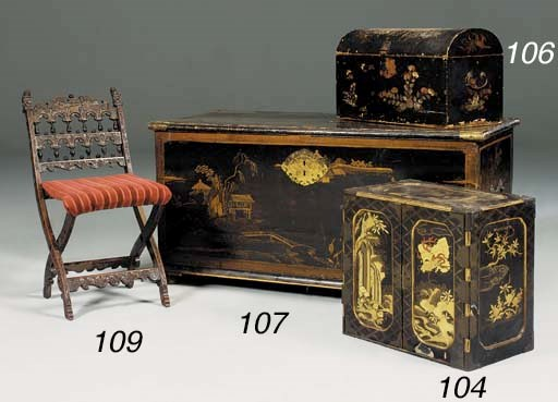 A black and gold chinoiserie d