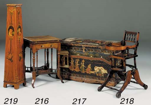 An Indian painted hardwood che