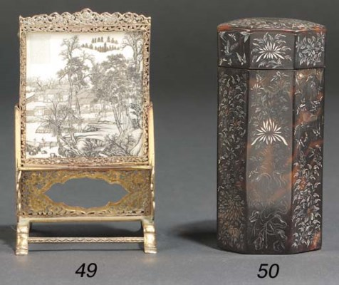 A Chinese silver-gilt and ivor