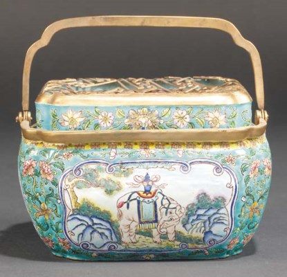 A Chinese Export enamel brazie