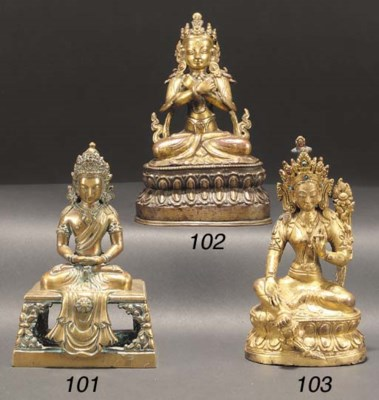 A Nepalese gilt-copper seated