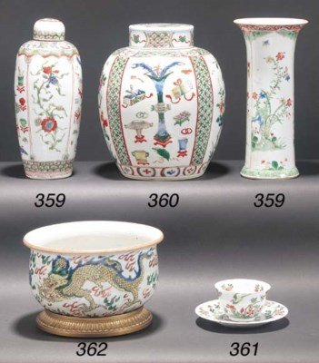 A famille verte tea bowl and s
