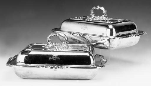TWO MODERN SILVER COVERED ENTR