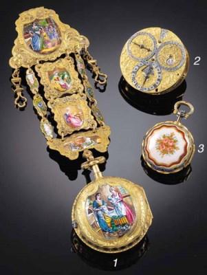 A GOLD, ENAMEL AND ROSE DIAMON