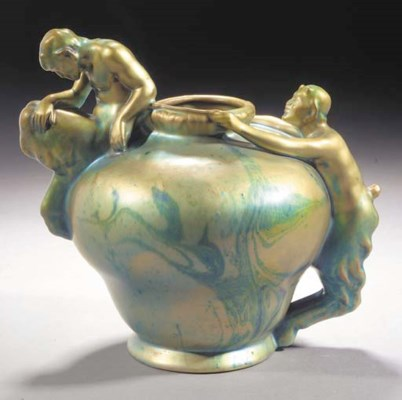 A ZSOLNAY EARTHENWARE VASE