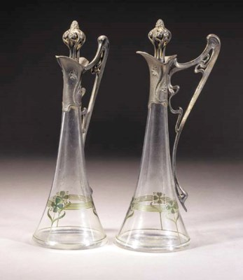 A PAIR OF WMF PEWTER AND GLASS
