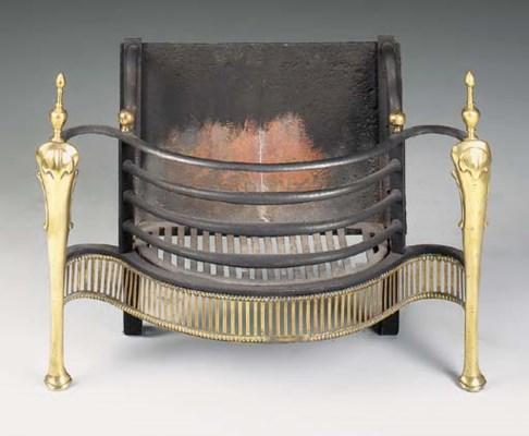A brass mounted iron firegrate