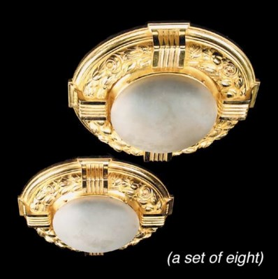 A set of four gilt bronze and
