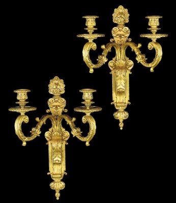 A pair of French gilt bronze t