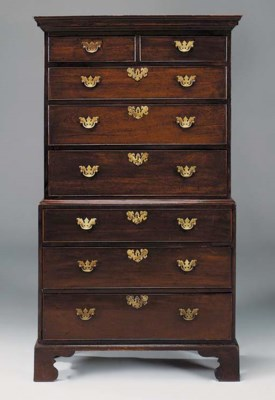 A MAHOGANY TALL BOY CHEST, 18T