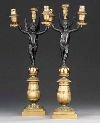 A pair of Empire gilt and pati