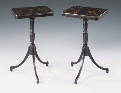 A pair of black and gilt japan