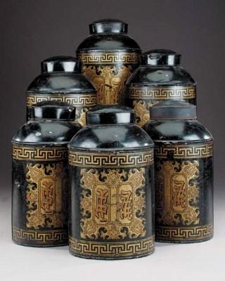 A set of six japanned metal te