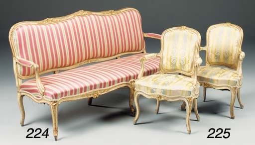 A pair of Louis XV fauteuils