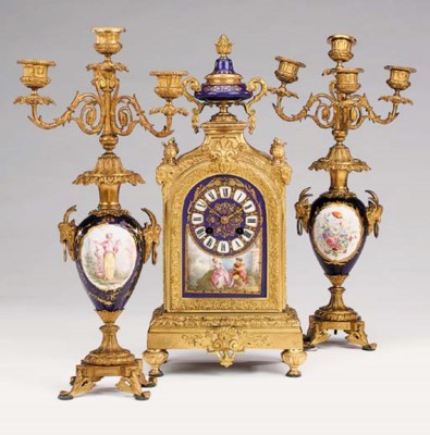 A French gilt metal and porcel
