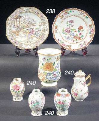 A famille rose waisted tankard