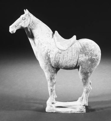 A Chinese painted pottery hors