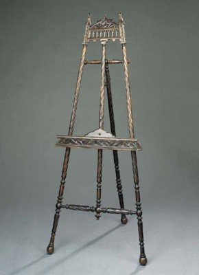 A French carved wood easel, la