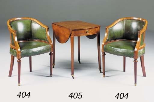 A pair of mahogany and green l