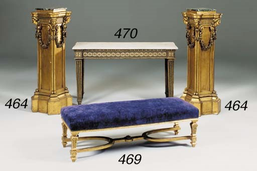 A rectangular giltwood stool,