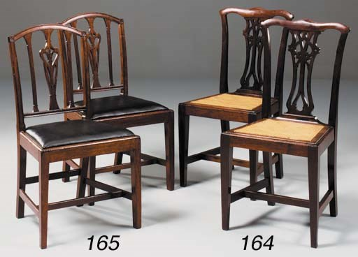 A set of six mahogany and cane