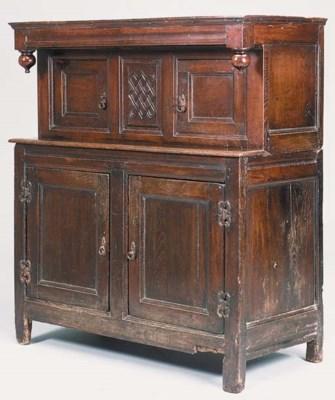 An oak press cupboard, possibl
