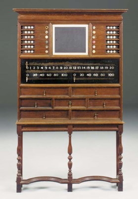 AN OAK BILLIARDS SCOREBOARD DE