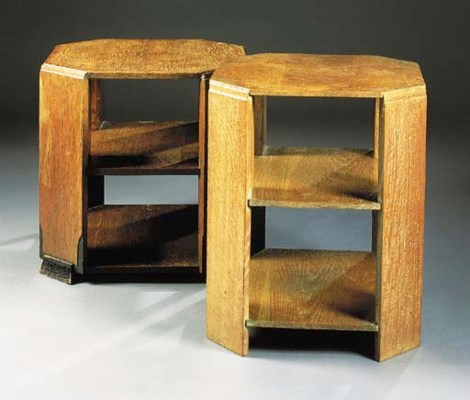 TWO HEAL & SON OAK BOOK TABLES