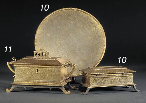 A Koftgari iron box and cover