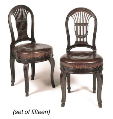 A set of fifteen mahogany dini