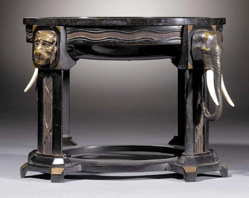 A patinated bronze, ivory and