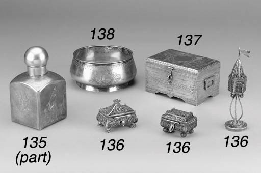 TWO RUSSIAN SILVER SPICE BOXES