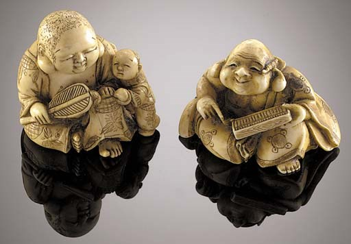 An ivory netsuke of Hotei 19th