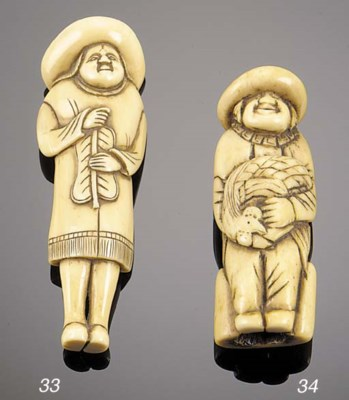 A stag antler netsuke of a Dut