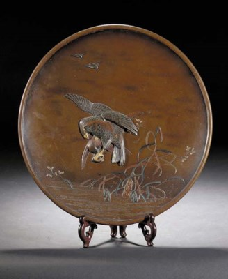 A bronze circular dish Meiji P