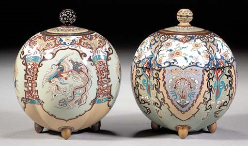 A pair of lobed cloisonne jars