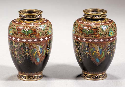 A pair of tapering cloisonne v
